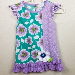 Emily Rose Purple Green Floral Lace Dress Size 8